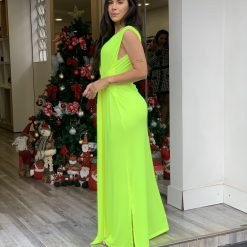 Vestido mídi neon